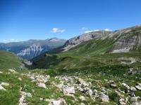 Panoramica sul tratto di sentiero che dall'Alp Anarosa (Nurdagn) scende a Promischur