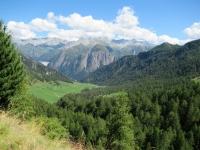 Panorama della Val di Campo percorrendo il sentiero Bovarina Bike