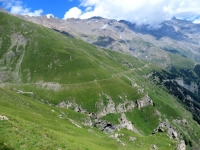 Panoramica sul traverso finale che conduce all'Alpe Tour