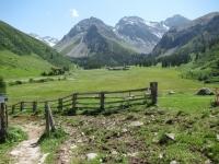 L'inizio del sentiero che  da Sand risale le pendici del Rinnerhorn e del Leidbachhorn  per salire in località Äbirügg
