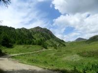 Salita agli alpeggi superiori -  a sinistra la Becca France