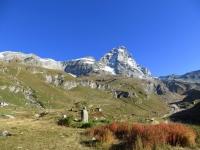 Salita al Rifugio Oriondè Duca Degli Abruzzi, fantastica vista sul Monte Cervino (4.478) e la Testa del Leone (3.714)