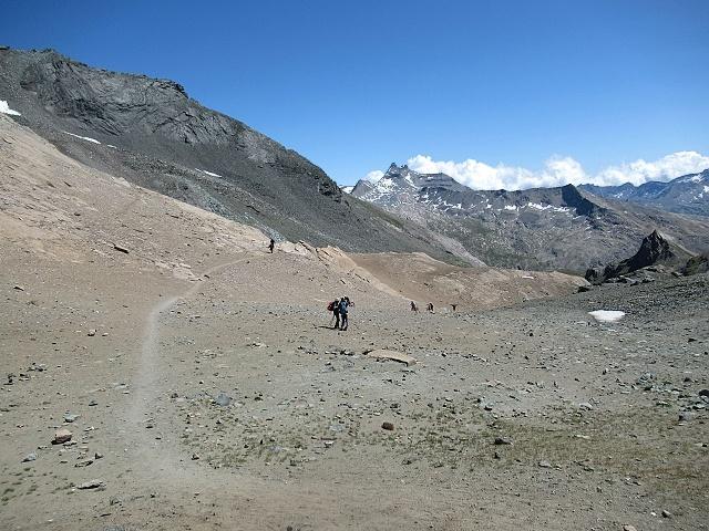 La parte finale della traccia che risale dal vallone del Leynir verso il colle