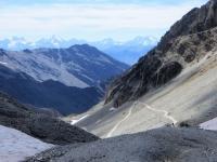 Massiccio degli Écrins dal Colle del Sommeiller - Da sinistra a destra vista su Mont Pelvoux (3.943 mt)- Pointe Puiseux, Barre des Écrins (4.102 mt), La Grande Ruine (3.765 mt), le pic Gaspard (3.881 mt), la Meije (3.984 mt)
