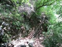 La scalinata da superare nel breve tratto a mano
