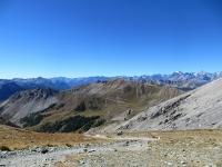 Panorama dal Colle dello Chaberton  - Sullo sfondo a destra i ghiacciai del Massiccio degli Ecrins
