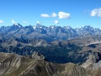Panorama dalla cima dello Chaberton - Massiccio degli Ecrins: Pelvoux (3.946), Barre des Ecrins (4.102), Gr. Ruine (3.765), Piz Gaspard (3.880) e La Meije (3.983)