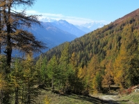 In direzione di Unnerbodme  - Panorama autunnale con  il Weisshorn ed il Mischabel  sullo sfondo