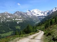 Nel corso della discesa su sterrato nella Nanztal dal Gebidumpass, sullo sfondo le vette che sovrastano il Passo del Sempione, tra cui il Fletschhorn (3.985)