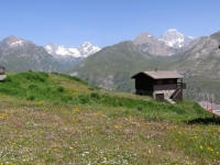 Les Suches, panorama sulla vetta del Monte Bianco (dx) e sul gruppo della Aiguille des Glaciers (sx)