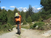 Dall'Alpe Forcola in direzione dell'Alpe Poverzone - Sullo sfondo il massiccio del Bernina