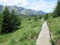 Trail con passerelle in legno in direzione di Croce Portera