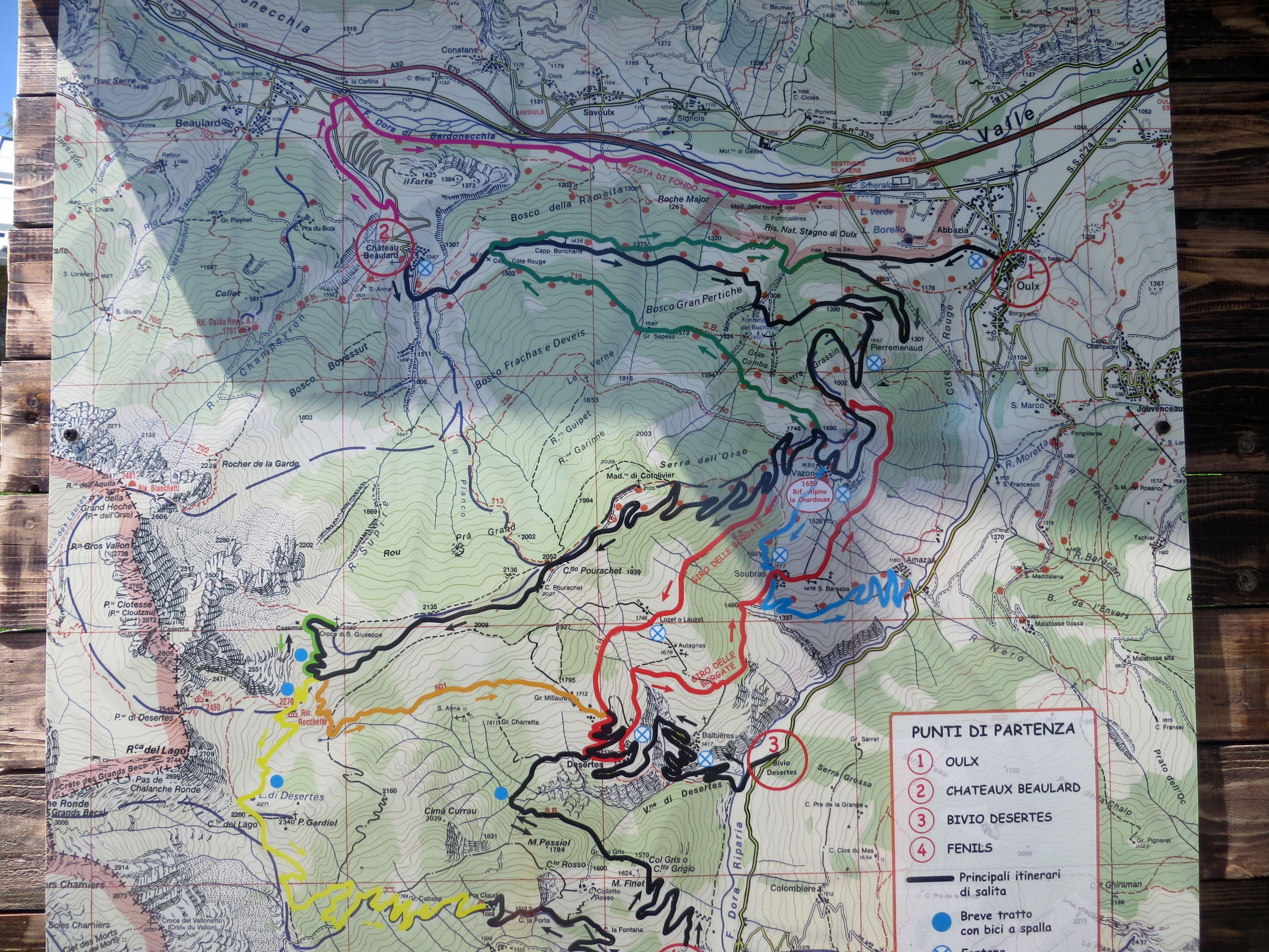 Mappa degli itinerari del Cotolivier