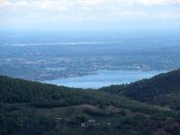 Panorama dalla sommità del Falò - La parte terminale del Lago Maggiore (angera/Sesto Calende) e l'inizio del fiume Ticino