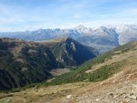 Panoramica sulla Nanztal,  Gibdidumpass e Bietschhorn - Al centro l'alpeggio di Nidristi Alp