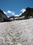 Sentiero in direzione del Passo del Corno - tratto innevato