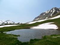 Ascesa al Saflischpass, laghetto alpino