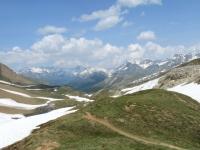 Saflischpass, panorama sul sentiero percorso con le vette della Lengtal e della Binntal sullo sfondo