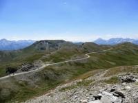 Panorama dalla Testa dell'Assietta - Monte Gran Costa e la strada che prosegue per il Col Lauson