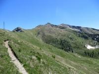 Sentiero per il Col Portola, sullo sfondo la vetta dello Zerbion