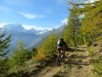 Discesa all'Alpe Moiero. Sullo sfondo, da sinistra, il Monte Leone, la Punta Terrarossa e la Punta d'Aurona
