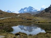 In direzione dello Schwarzsee - Grandioso panorama su Piccolo Cervino (dx), Breithorn (centro) e Liskamm (sx)