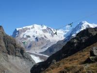 Discesa su sentiero alpino da Trockener Steg - Panorama su massiccio del Monte rosa con il Gornergletscher ed il Grenzgletscher