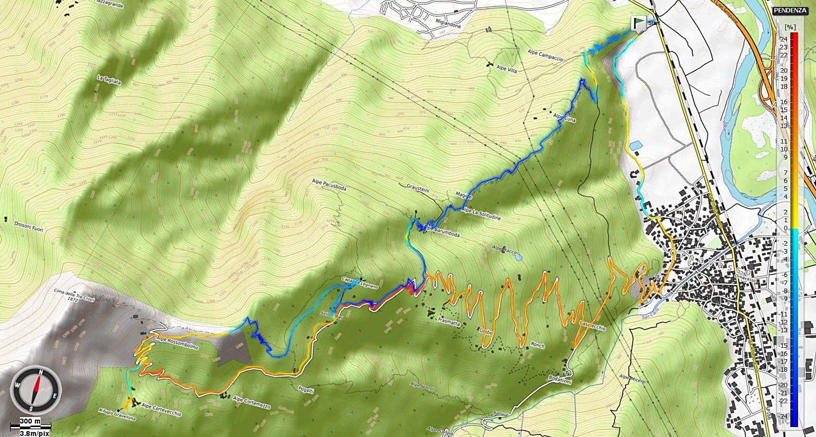 Alpe Cortevecchio Pendenze