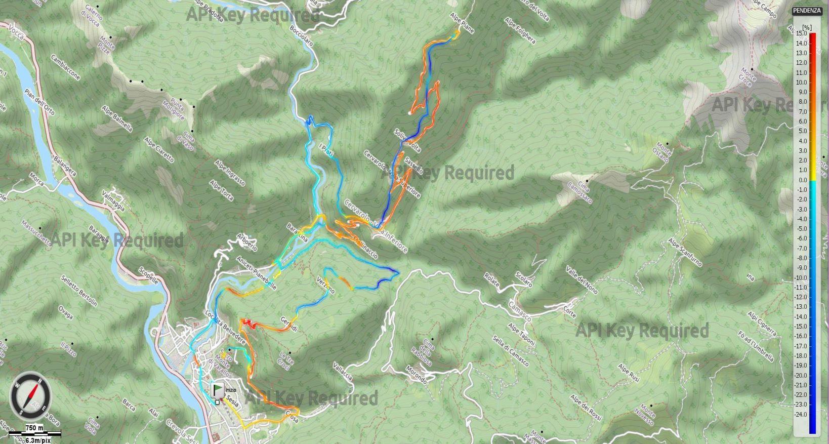 Alpe Piane di Cervarolo Pendenze