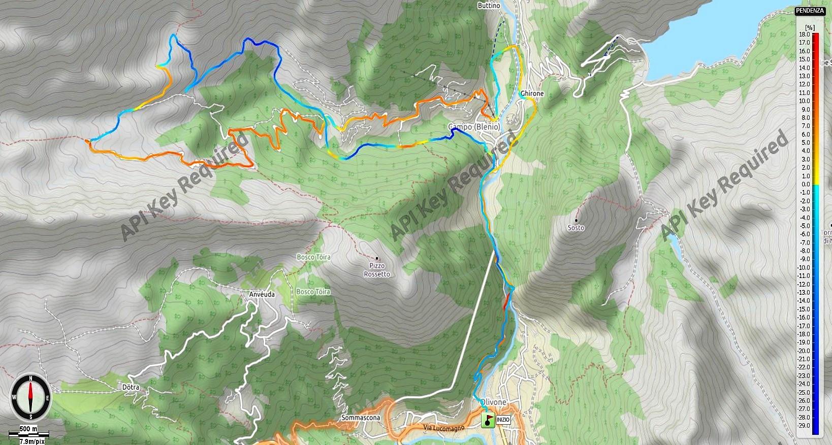 Alpe di Bovarina Pendenze