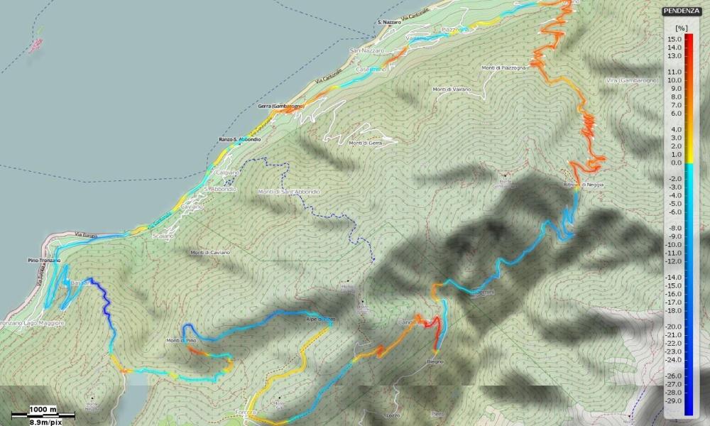 Alpe di Neggia - Passo della Forcora Pendenze