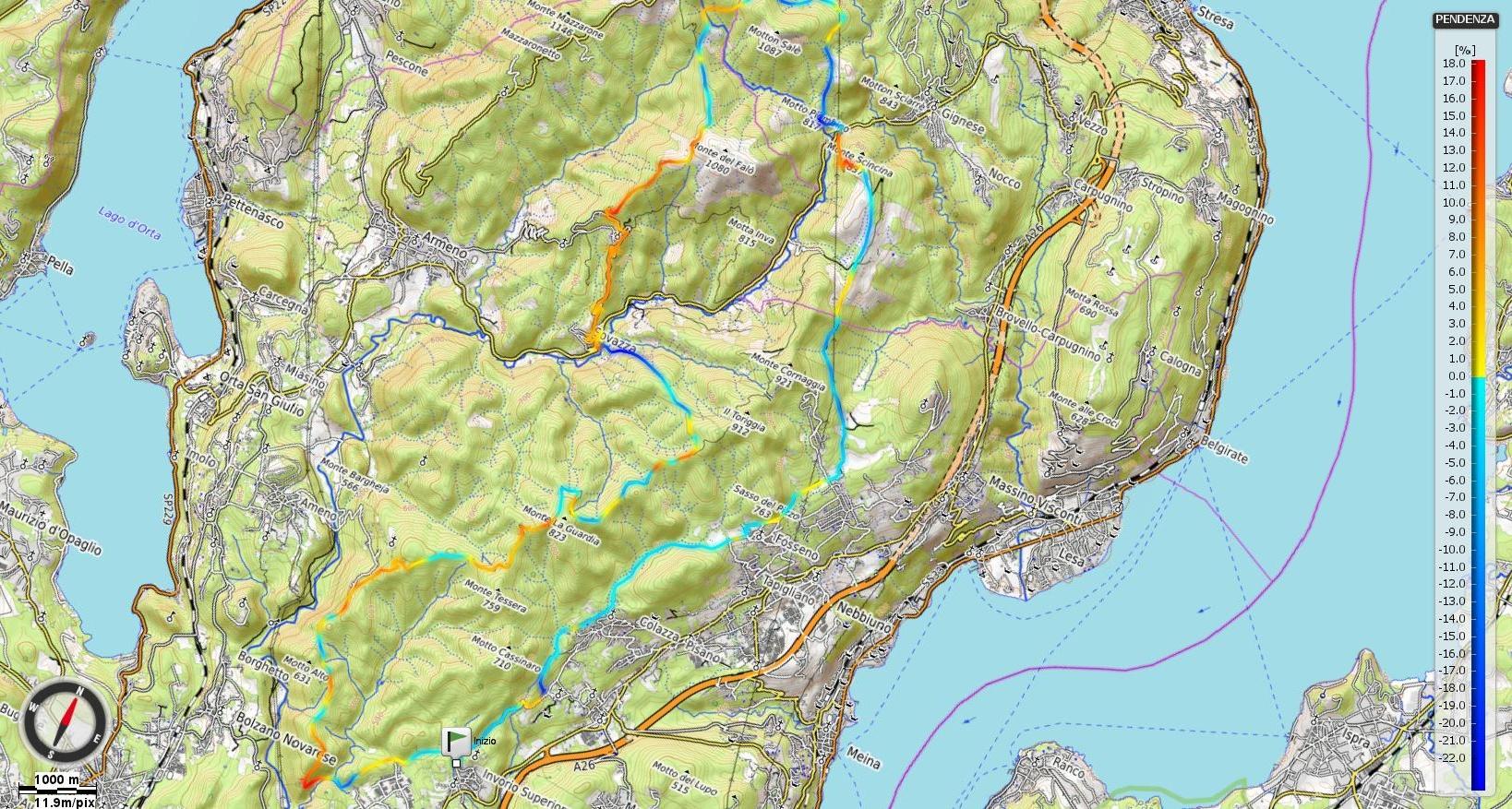 Alto Vergante - anello del Monte Falo percorrendo la dorsale - pendenze