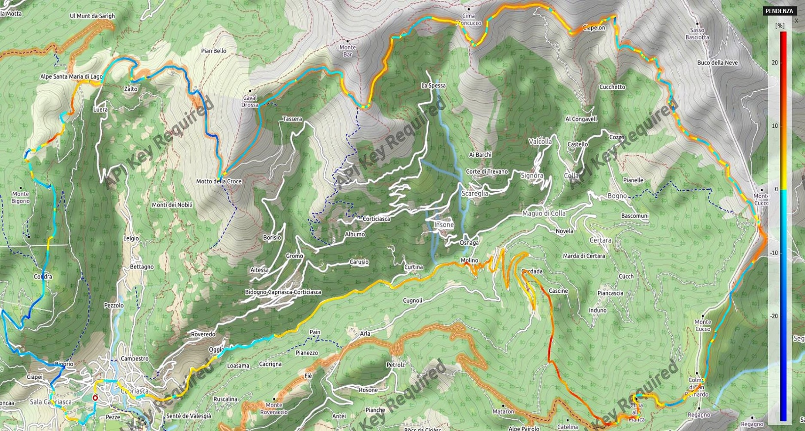 Anello della Val Colla Pendenze