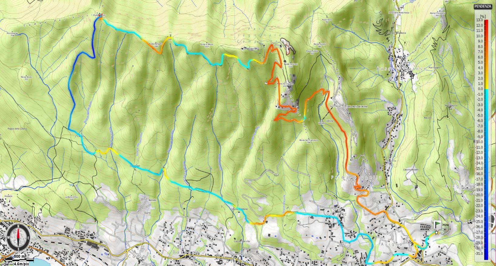 Campo dei Fiori - Forte di Orino - discesa sentiero13 Pendenze