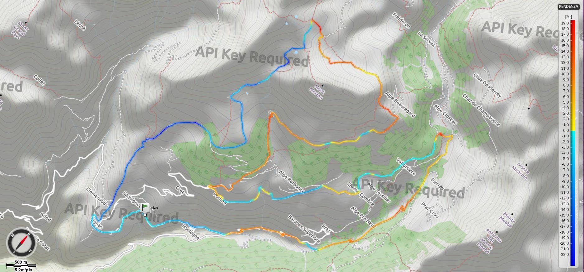 Giro del Monte Morion - Pendenze