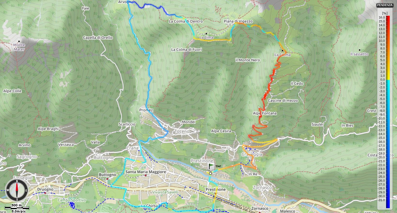 Traversata Colma di Craveggia - Piana di Vigezzo - Pendenze