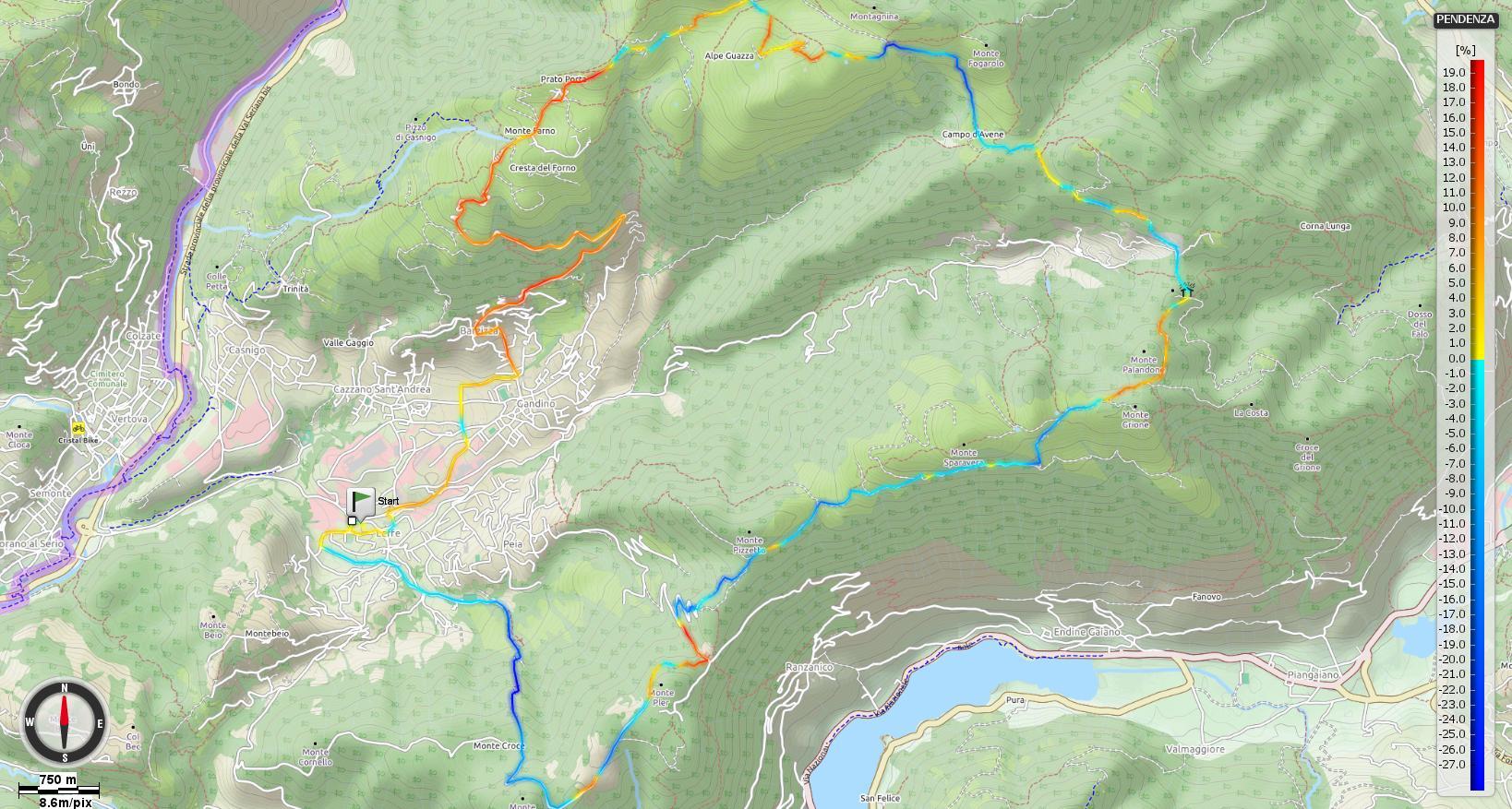 Giro della Val Gandino Pendenze