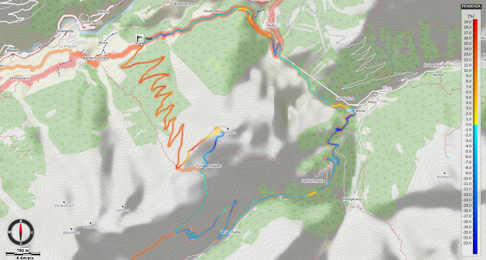 Monte Breithorn Pendenze