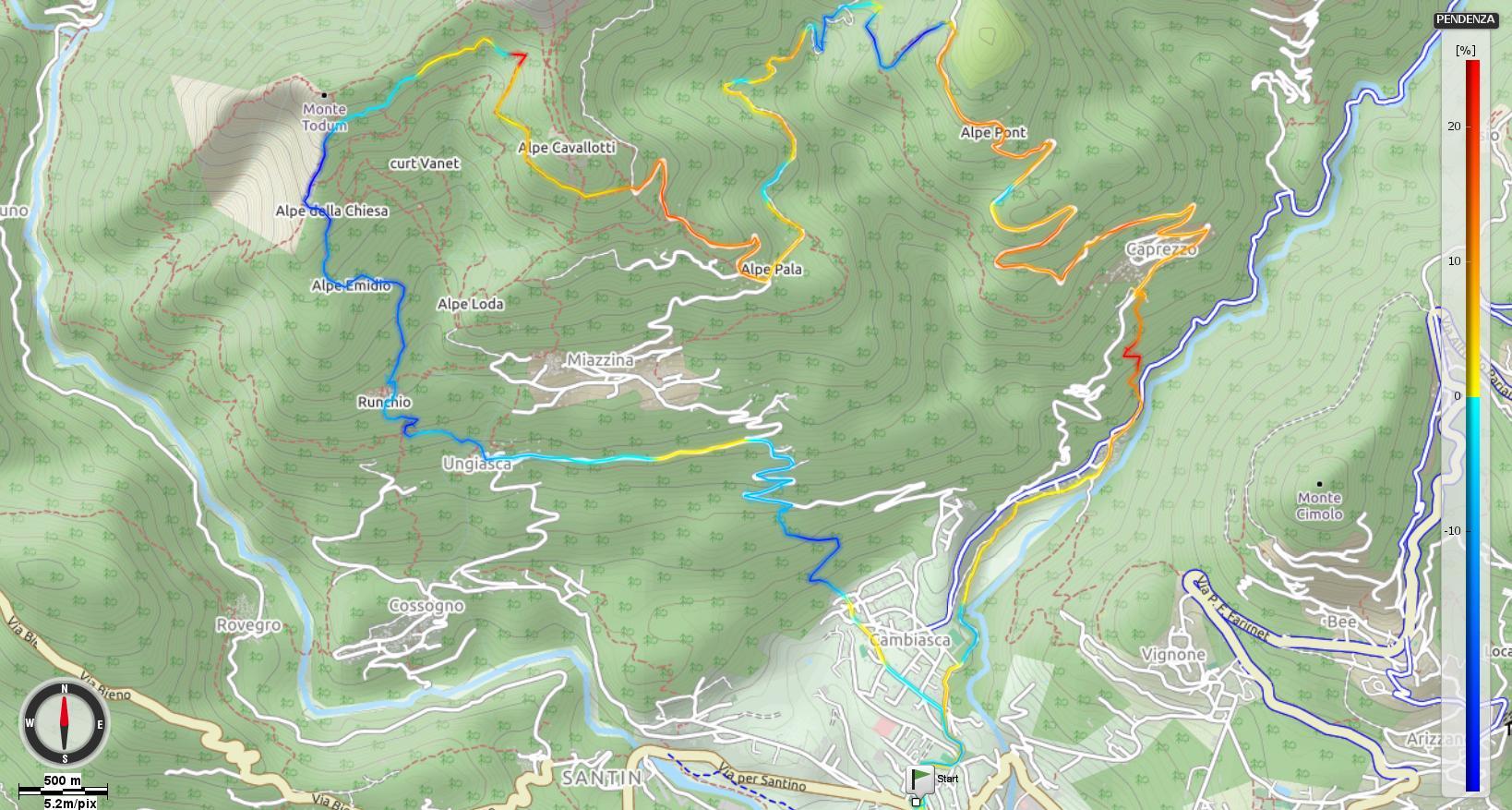 Monte Todun Pendenze