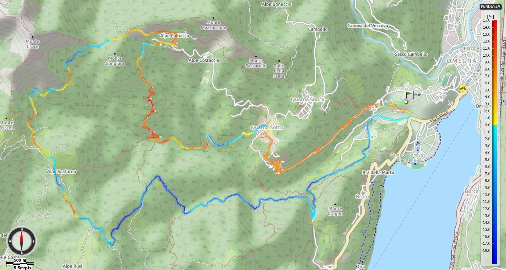 Omegna Alpe Camasca Alpe Sacchi Pendenze