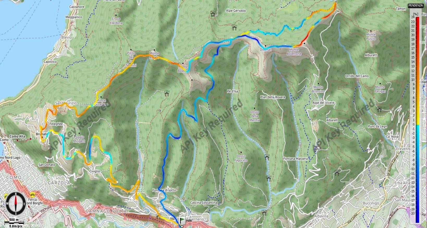 Monte Boletto e Monte Bolettone Pendenze