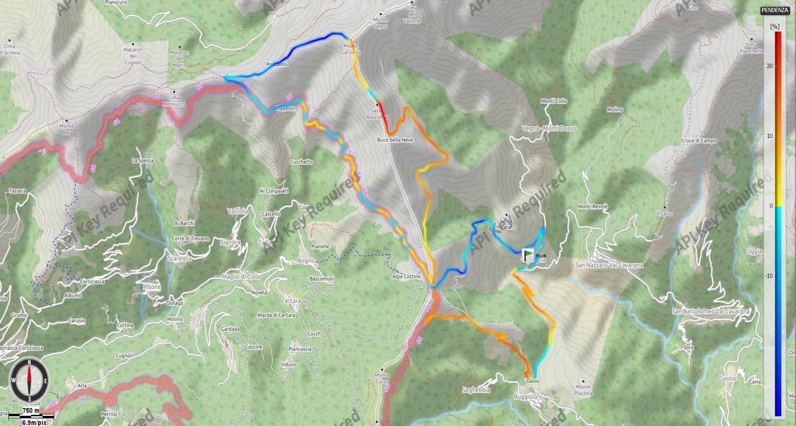 Monte Gazzirola salita dalla Val Cavargna - Pendenze