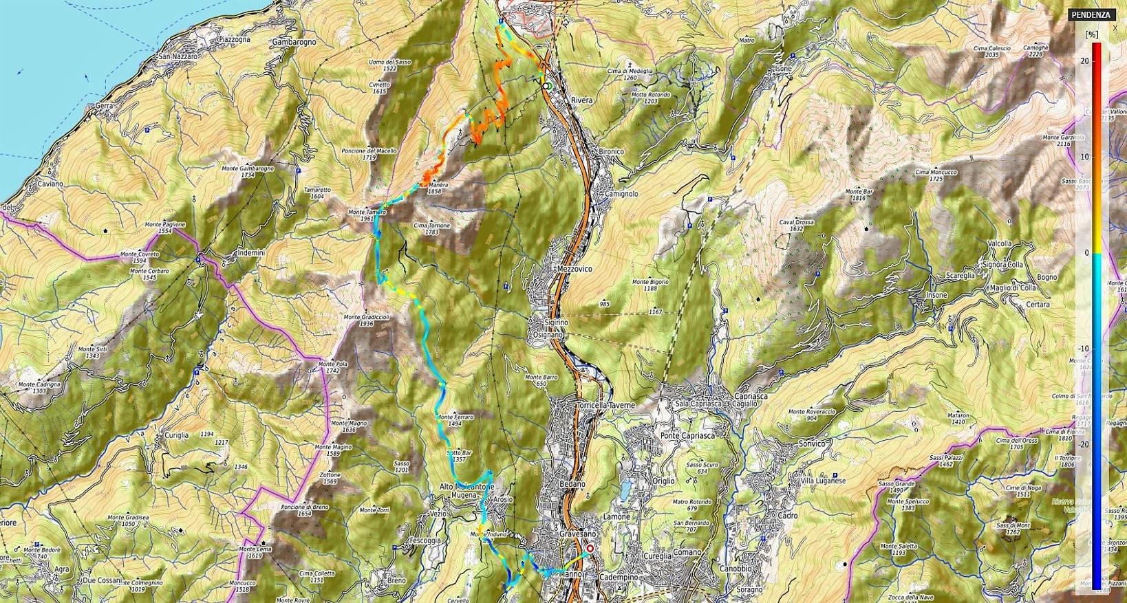Monte Tamaro supertrail Pendenze