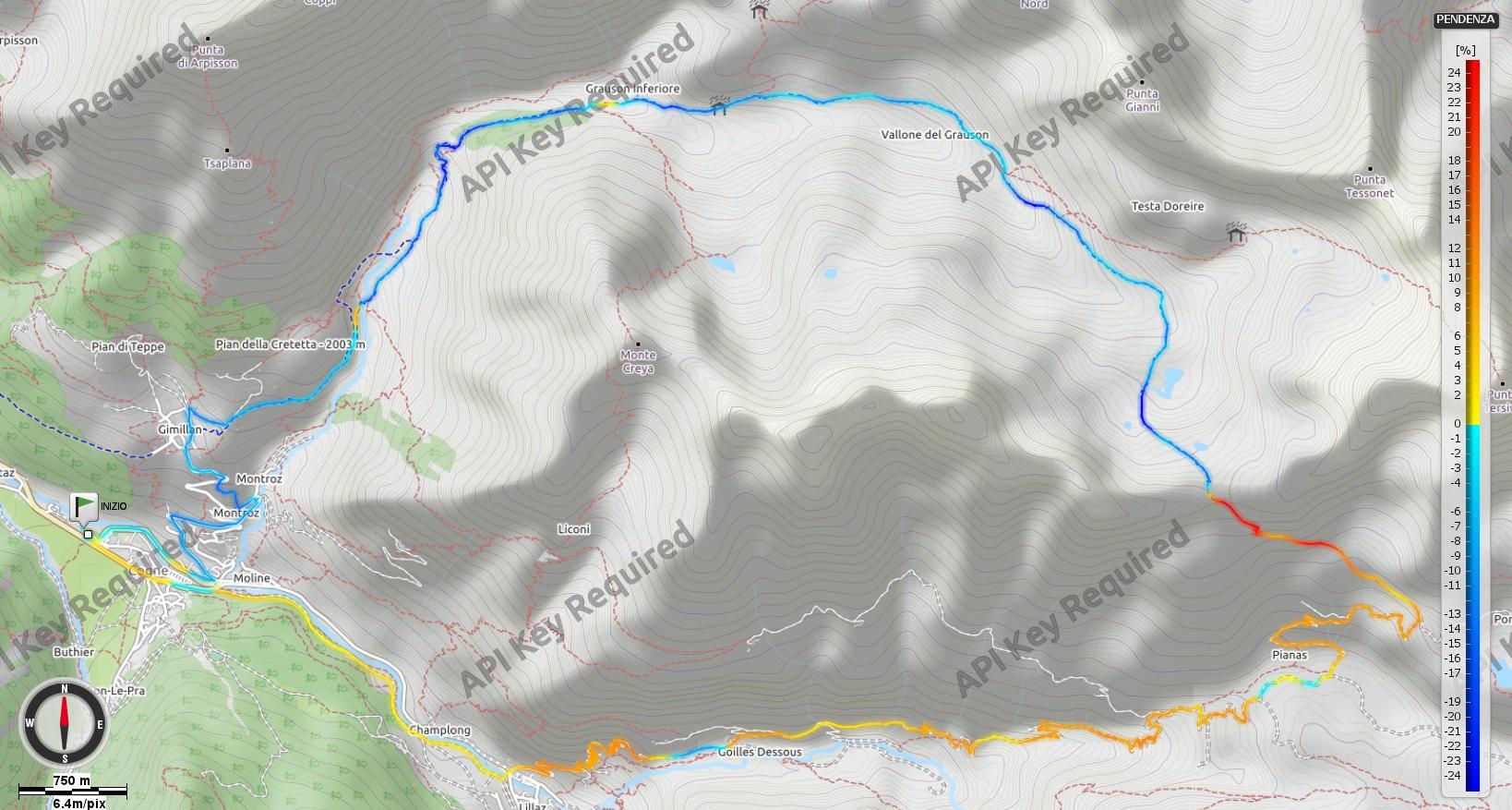 Passo Invergneux - Pendenze